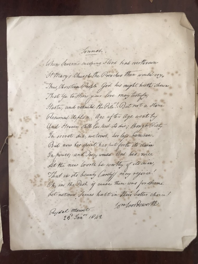 Page with the words of Wordsworth's poem
