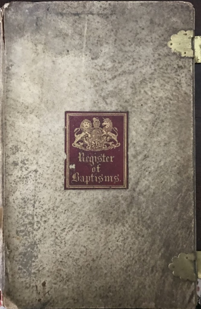 Cover of old book with title Register of Baptisms